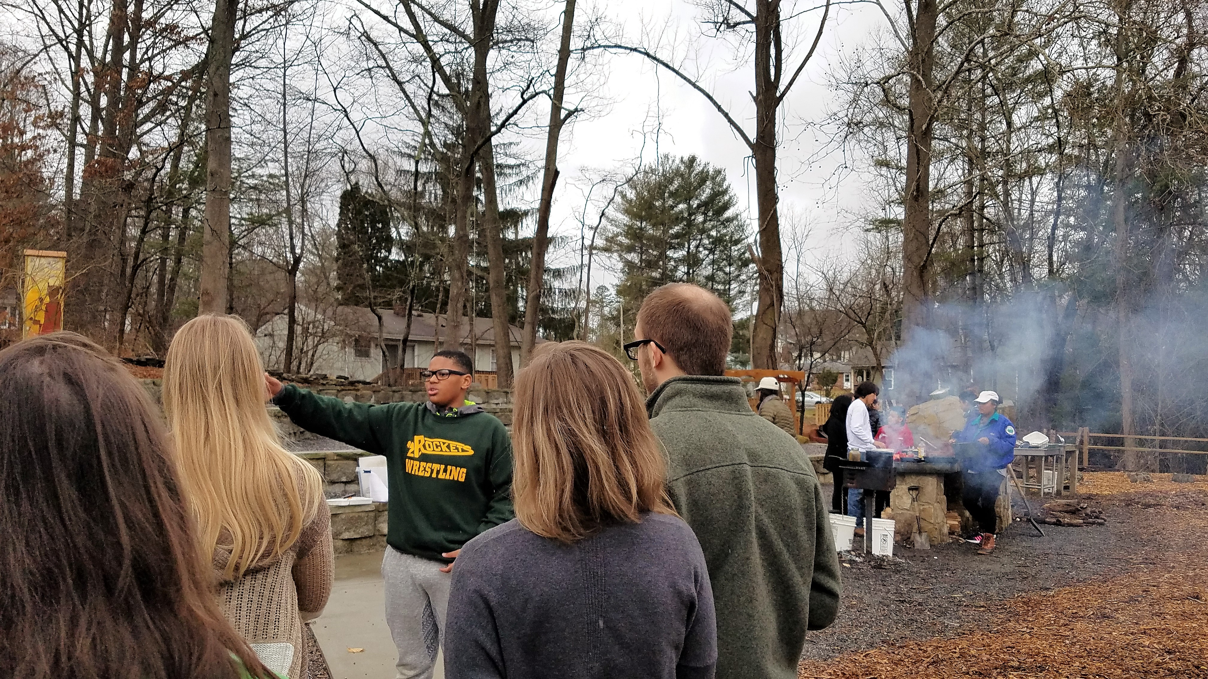A young tour guide gives an overview of the history of the Shiloh grounds and neighborhoods as well as the community center.