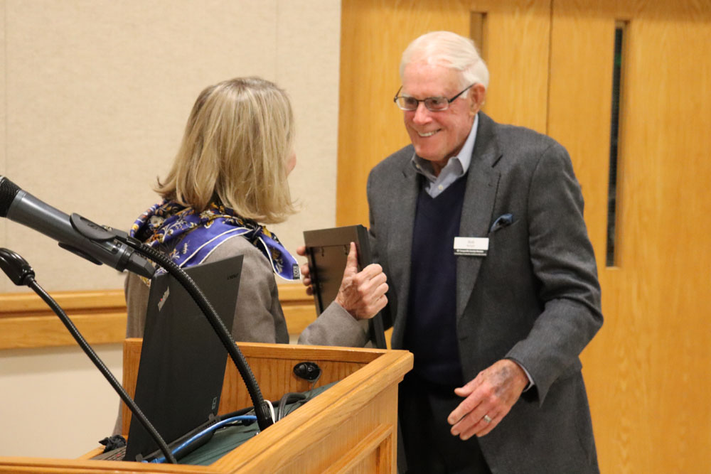 Senator Terry Van Duyn had the honor of bestowing the award to Bob Burgin on behalf of the Governor.